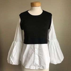 Anthropologie Moth Cropped Sweater Blouse Combo